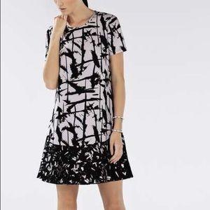 BCBG Bailee Print Blocked Flounce Dress